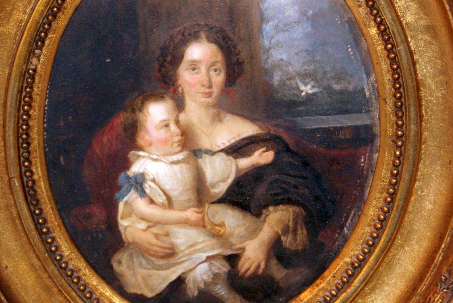 Museales Biedermeier Gemälde um 1820, Mutter mit Kind, Umkreis J ...